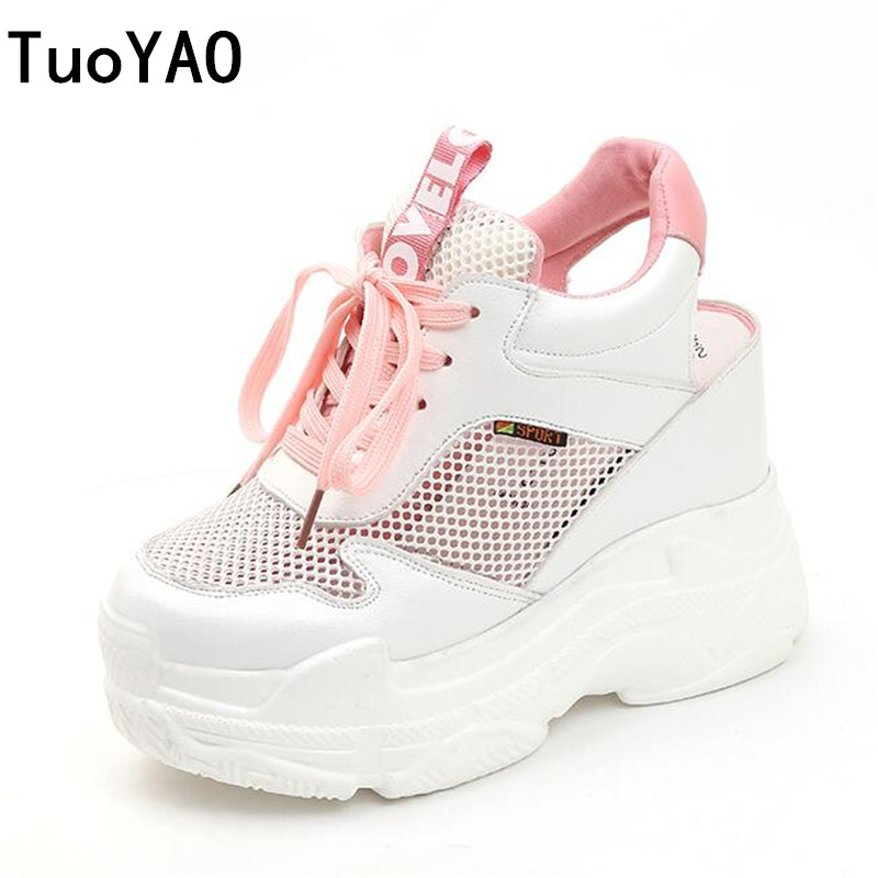 New Summer Women Sneakers Mesh Casual Platform Trainers Shoes 11CM Heels Spring Wedges Breathable Woman Height Increasing Shoes