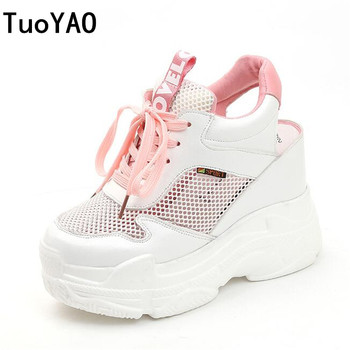 New Summer Women Sneakers Mesh Casual Platform Trainers Shoes 11CM Heels Spring Wedges Breathable Woman Height Increasing Shoes de la chance 2018 women wedges sneakers shoes women high heels casual shoes female height increasing platform women canvas shoes
