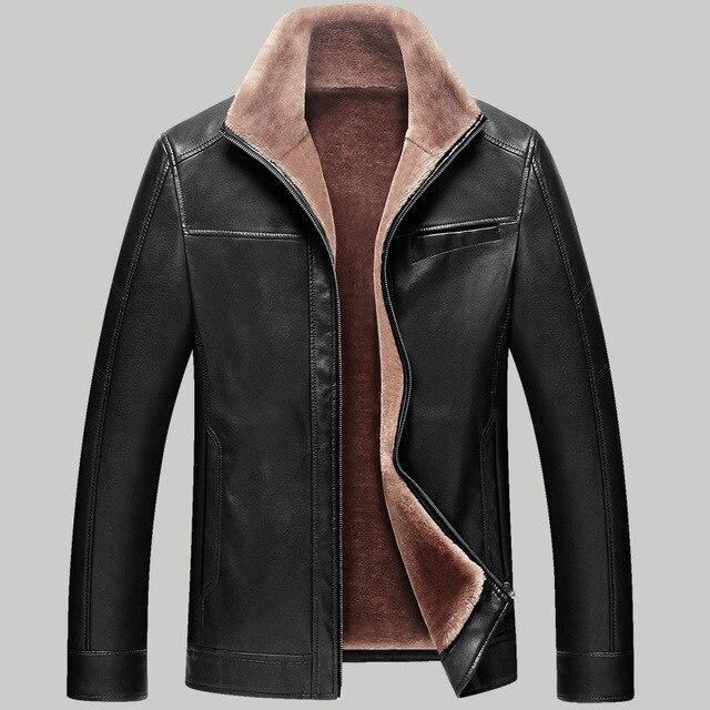 M 4XL Winter Newest Men Pu Leather Jackets Thick Warm Coats Turn ...