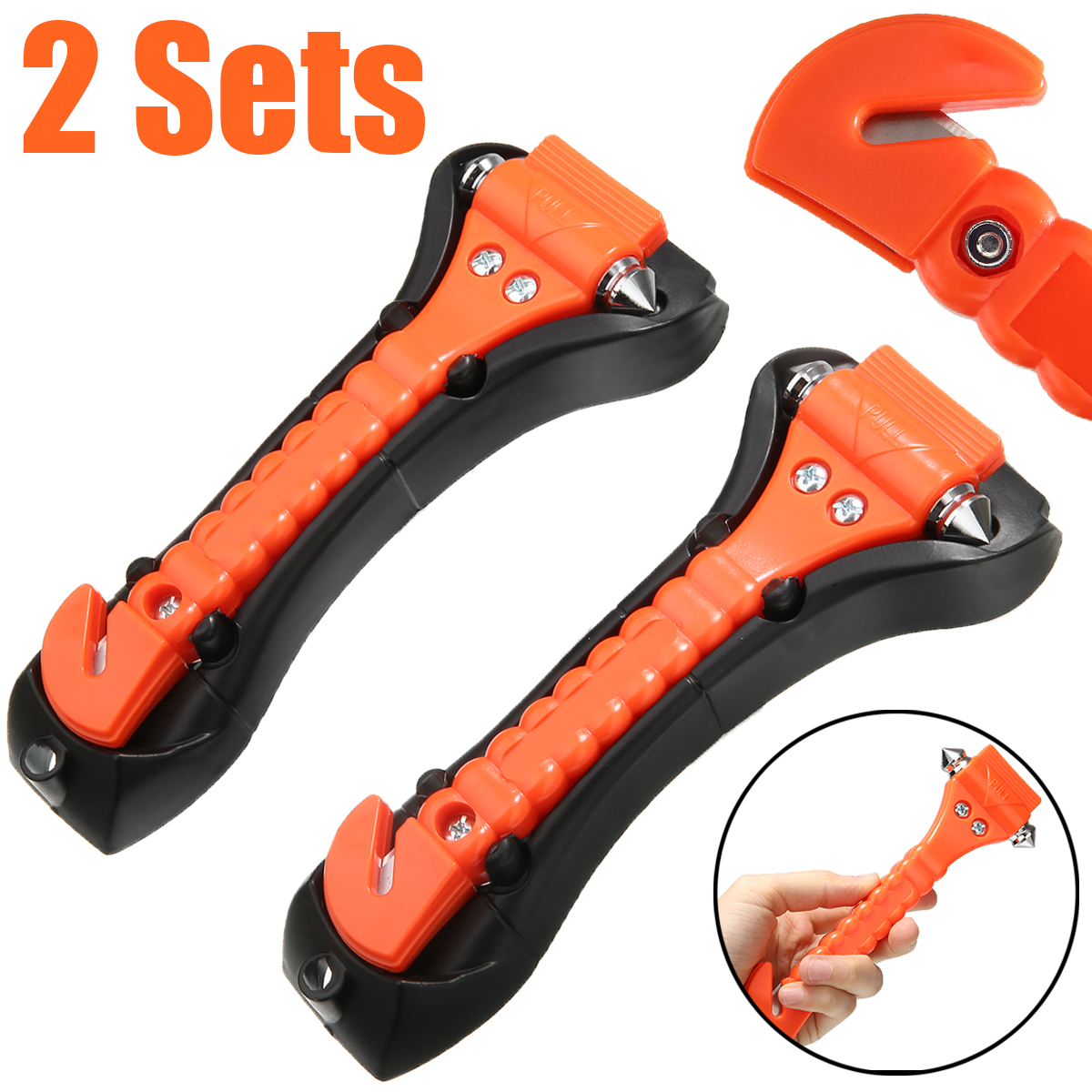 2 sets 2 in 1 Car Safety Rescue Hammer Life Saving Escape Emergency Hammer Seat Belt Cutter Window Glass Breaker High Quality in Hammer from Tools