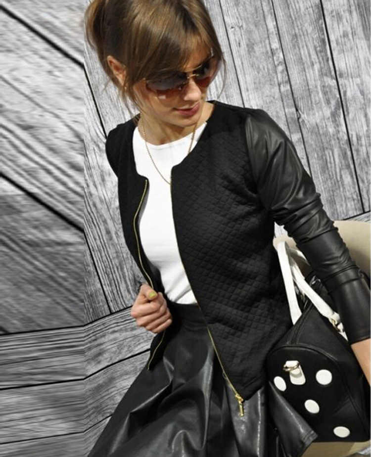 2019 frauen Basic Mäntel Jacken Frühling Schwarz Zipper Crop Pu Jacke Punk Stil Bandage Frauen PU Leder Jacke Mantel Ernte tops