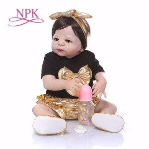 Image 3 - NPK 56 cm Silikon Volle Körper bebe Puppe reborn baby Echt Leben goldene Prinzessin Baby Puppe Für Weihnachten Geschenk Wasserdicht bad spielzeug weiche spielzeug