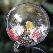 10 шт., пластиковое Рождественское украшение в виде шара, прозрачные открытые безделушки, украшение в подарочной коробке, вечерние украшения, Navidad