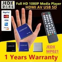 JEDX MP021 Black Mini 1080P USB SD MMC HD AV Port TV Multi Media Player MKV