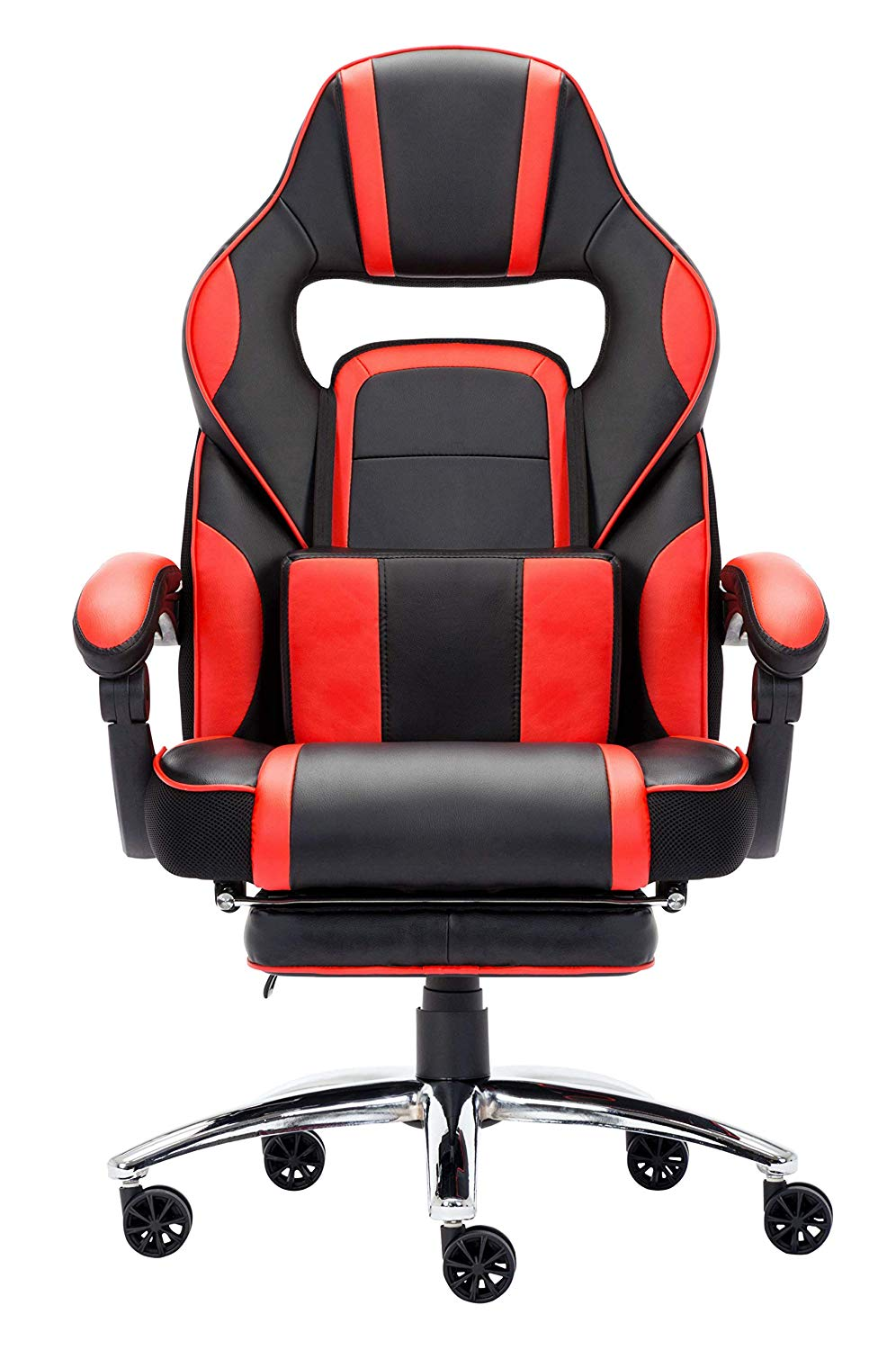 High-back Faux Leather Office Gaming Computer Chair Thick Padded Extendable Racing Gaming Executive Chair With Footrest
