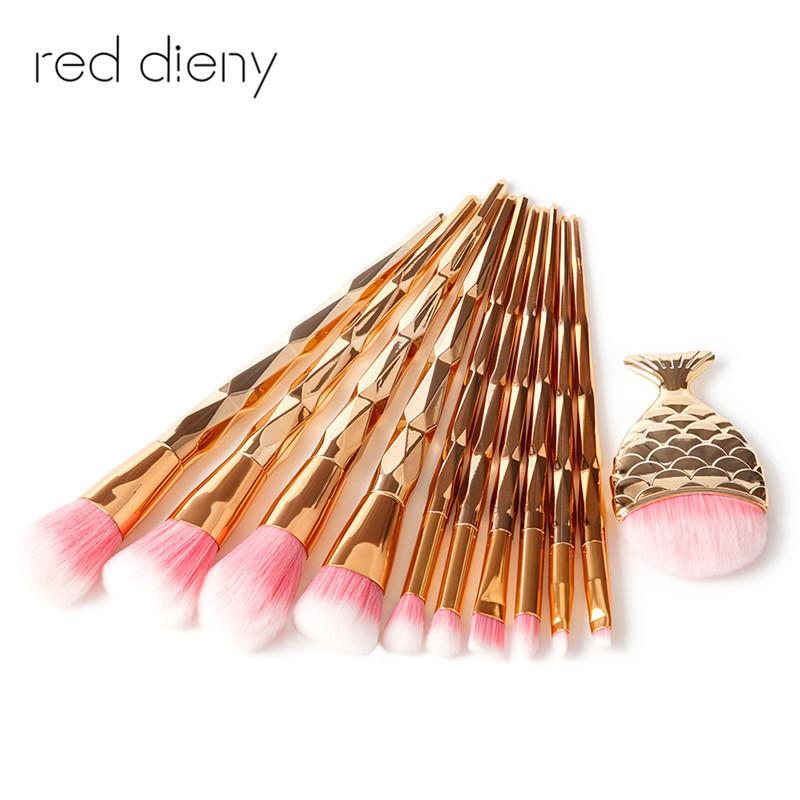 11Pcs Diamond Rose Gold Makeup Brush Set Mermaid Fishtail Shaped Foundation Powder Cosmetics Brushes Rainbow Eyeshadow Brush Kit цены