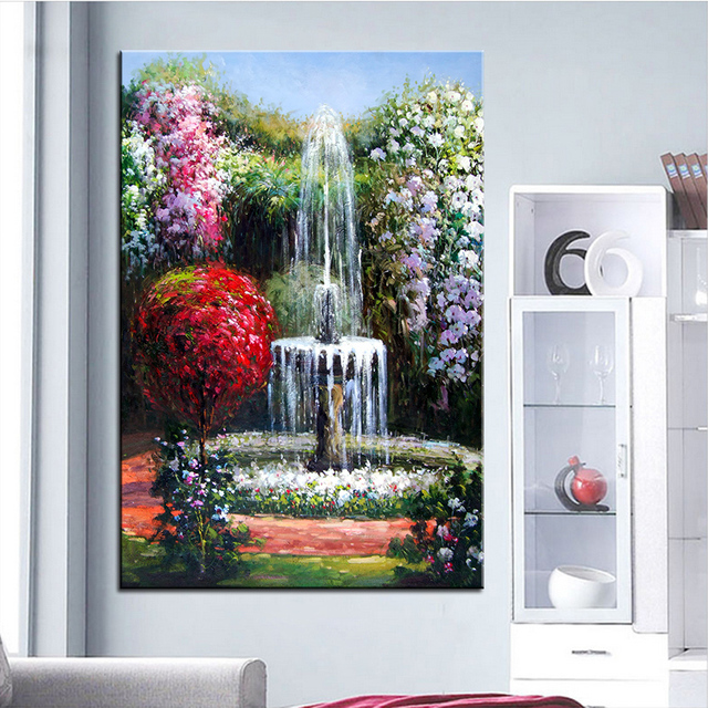 Extra Large Wall Painting Of Fountain Home Office Decoration Paint Canvas Prints No Framed