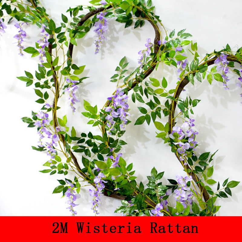 2m silk flowers artificial flower wisteria vine rattan for Artificial flower decoration for home