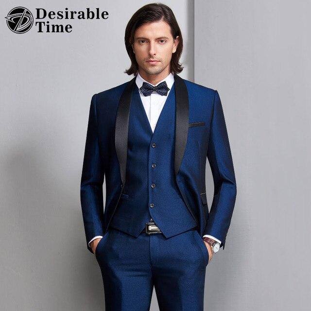 Desirable Time Men Burgundy Wedding Suit Three Piece Slim Fit Male ...