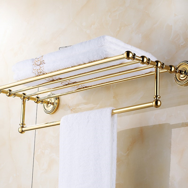 Gold Wall Mounted Towel Rack Rail Holder Storage Shelf Bathroom Home Accessory