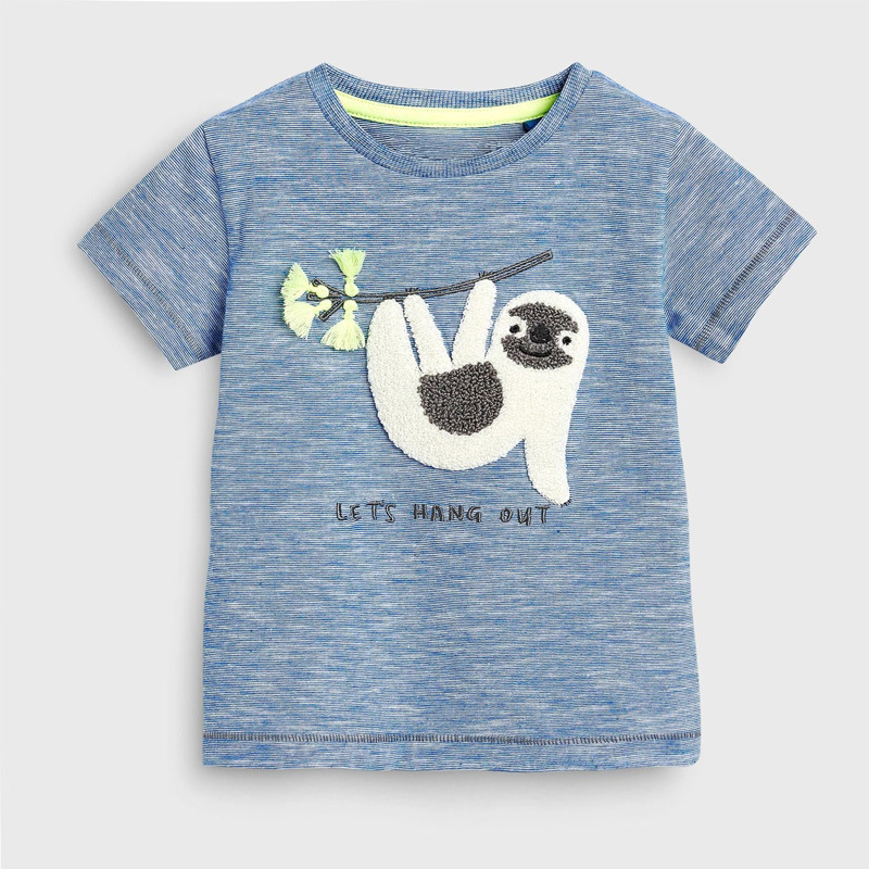 2019 Brand Summer 2-7 Year Baby Kids Girls Boys Cartoon Embroidery Monkey Letters Cotton Top Quality Cotton T-shirts Tops Shirt