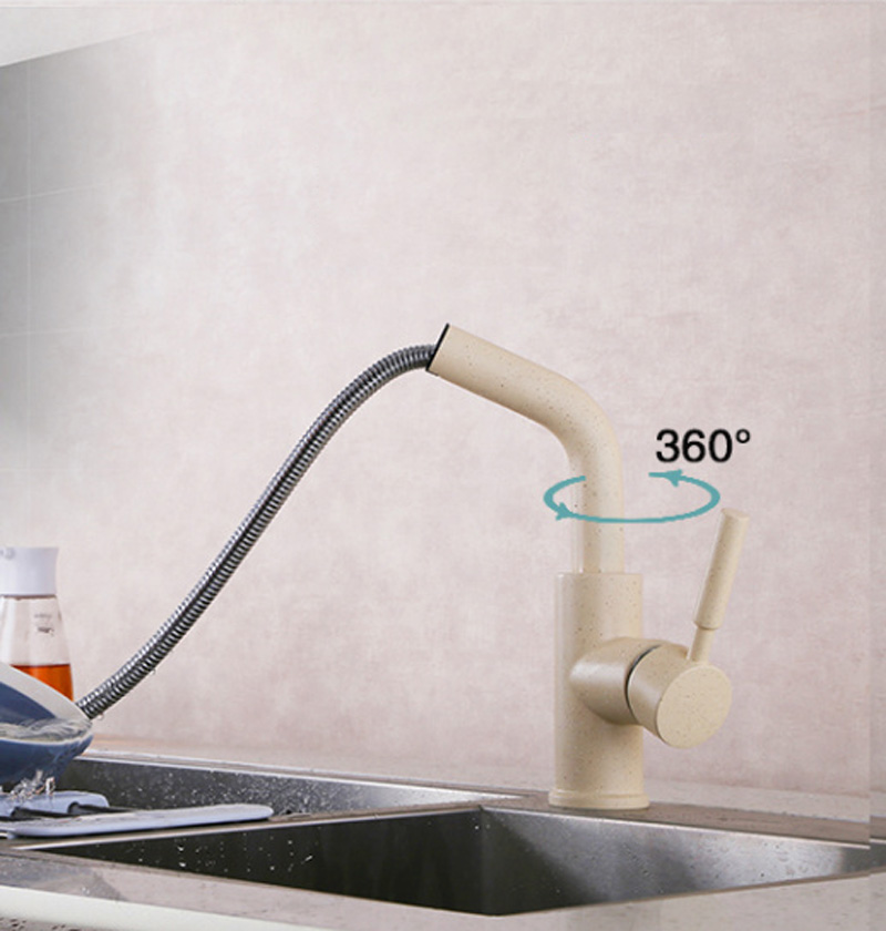 Kitchen Faucet Pull Down Spray Single Hole Bar Sink Water Mixer Tap with Pull Down Sprayer,Beige