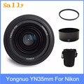 Yongnuo YN35mm F2 objectif grand angle grande ouverture fixe Auto Focus objectif + 58mm filtre UV + sac d'objectif + pare-soleil pour Nikon