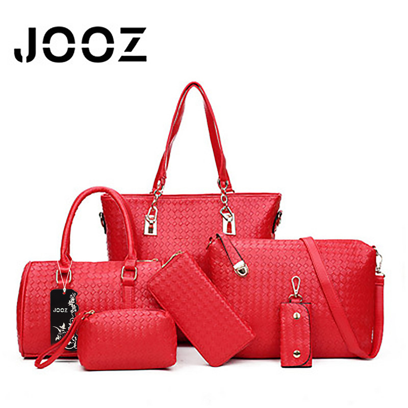 JOOZ Brand Luxury Knitting PU Leather Female Handbag 6 Pcs Women Composite Bags Set Shoulder Crossbody Bag Lady Wallet Clutch jooz brand luxury belts solid pu leather women handbag 3 pcs composite bags set female shoulder crossbody bag lady purse clutch