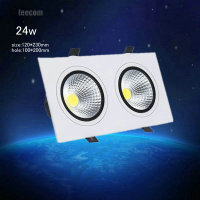 2018 Limited High Brightness 4pcs/lot 24w Double Head Square Led Downlight 2*12w Cob Recessed Ceiling Down Light Lamp For Home
