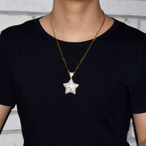 Image 3 - Cartoon Star Pendant Necklace Chain Charms Bling Cubic Zircon Mens Hip hop Jewelry Tennis Chain For Gift