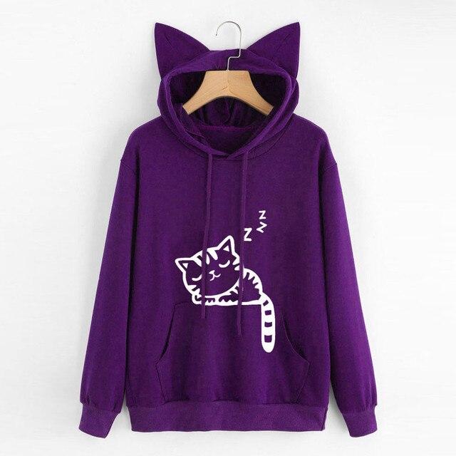 New Giản Dị Mèo Mùa Thu Quá Khổ Jumper Đội Mũ Trùm Đầu Áo Thun Áo Blou của Phụ Nữ Nữ Lỏng Lẻo Áo Thun Áo Len Outwear DROPSHIPPING #1