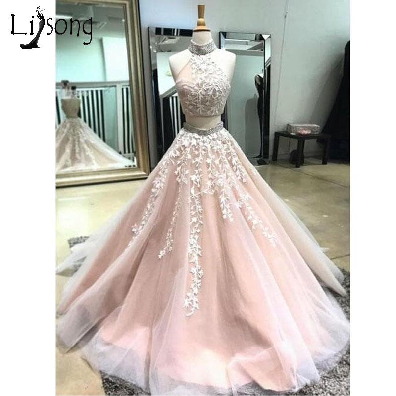 Pretty Light Pink 2 Pieces Prom Dresses 2018 Sparkle Crystal Beaded Lace Formal Party Dresses Halter