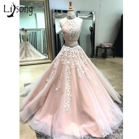 Pretty Light Pink 2 Pieces Prom Dresses 2018 Sparkle Crystal Beaded Lace Formal Party Dresses Halter Off Shoulder Prom Gowns