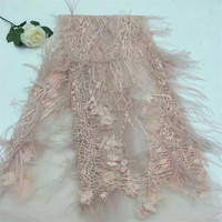 Nigerian Lace Fabrics For Wedding 2018 African French Lace Fabric High Quality 3D Lace with Feather Afrian Lace Applique H344 1