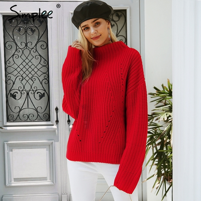 Simplee Turtleneck knitted sweater Women red casual winter pullover Autumn  streetwear warm loose pullovers tops 2018 7698f32cc