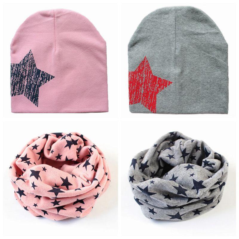 Autunno inverno stelle cappello del bambino del cotone cappelli sciarpa bambino  Cappellini sciarpa protezione del bambino bandana casquette per 0 3 anni ... 2071b157ac8e