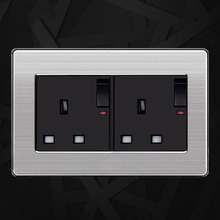 UK Standard Double Switched Socket with Neon Luxury Wall Power Outlet Enchufe Stainless Steel Panel Electrical Plug 146 mm *86m coswall wall socket uk standard power outlet switched with dual usb charge port for mobile 5v 2 1a output stainless steel panel