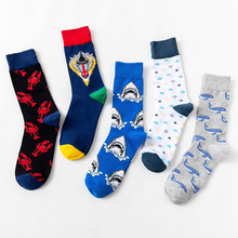 1 Pair/Lot Autumn Winter New Comfortable Multi-Graphic Socks Men Cartoon Shark Lobster High Tube Male Casual Cotton Sock Unisex