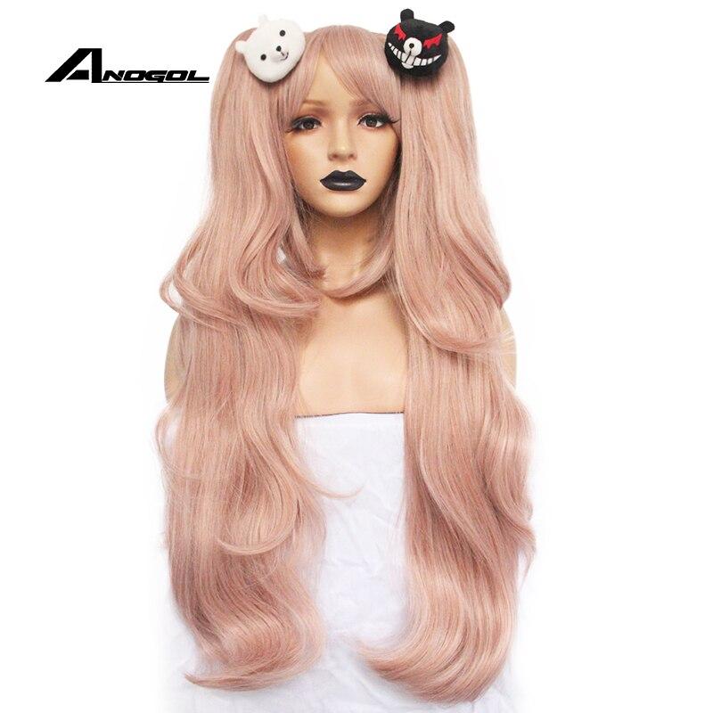 ANOGOL Anime Junko Enoshima Dangan Ronpa Light Pink Long Wavy Synthetic Cosplay Wigs Ponytails Black White Bear Clips Costume