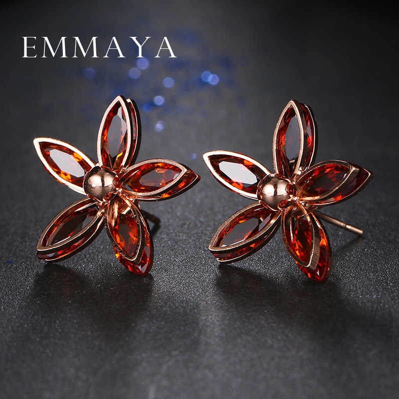 Emmaya Elegant Red Flowers Rose Gold Color Stud Earrings Fashion New Korean Style Women Ear Stud boucle d'oreille