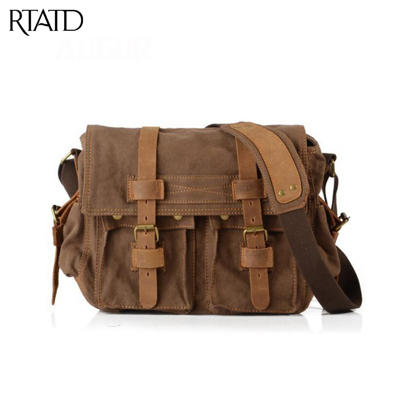 656abcd1e6cd RTATD New Fashion Canvas Leather Crossbody Bag Men Military Army Vintage  Messenger Bags Large Shoulder Bag