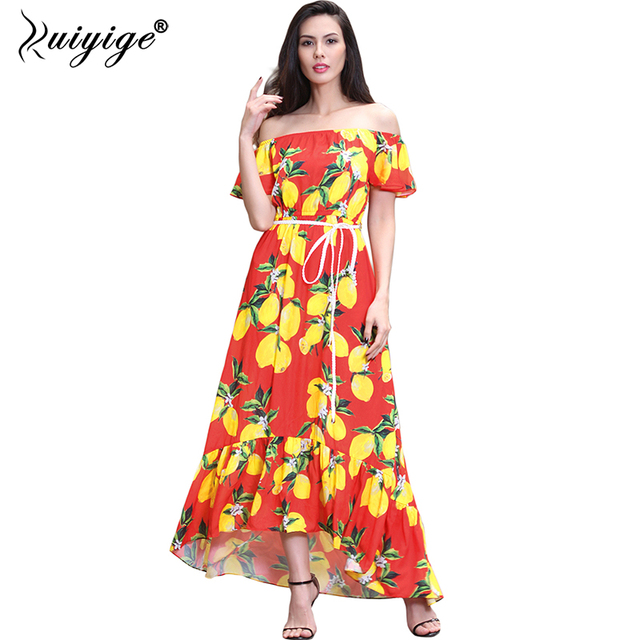 afb7a3dab98d4 2018 Boho Long Dress Floral Print Off Shoulder High Waist Women Summer Plus  Size Beach Holiday Maxi Vintage Retro Femme Vestidos