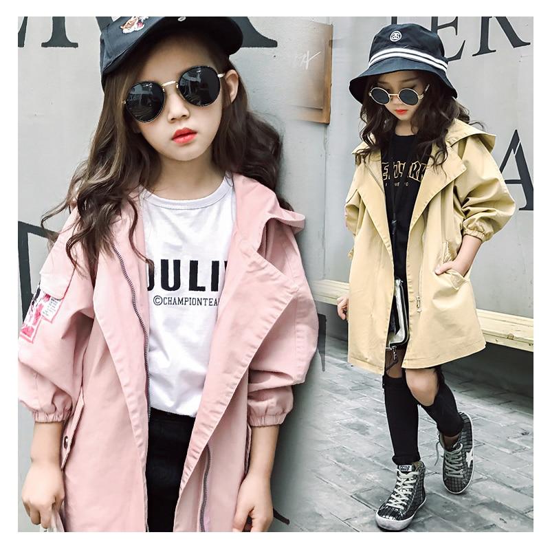 Плащ для девочек куртки с капюшоном и длинными рукавами для девочек осенне зимнее пальто для девочек 6, 8, 1, 0, 12, 14 лет