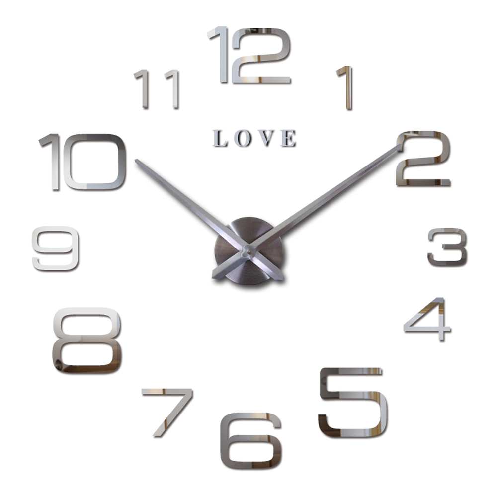 Love Letters Arabic Digital 3D Quartz Wall Clock Quartz Metal Mechanism Clock Large Modern DIY 2016 Clock