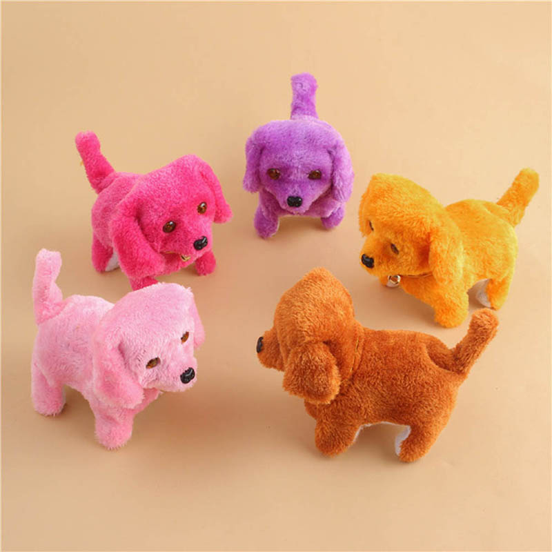 Hot Selling Cute Walking Barking Toy Funny Electric Short Floss Electric Moving Dog Children Kids Toys