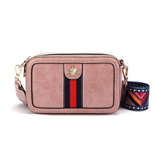 Ms Fashion PU Shoulder Bag Solid Color Wide Strap Messenger Stitching stripe New handbag United States
