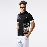 Vogue of new fund of 2017 letters printing leisure men's polo shirt lapel fitness comfortable polo shirts