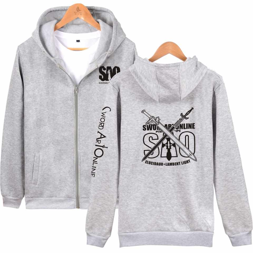 a647e47ca ... Sword Art Online autumn winter zipper hoodies sweatshirts anime fleece  hoodie sweatshirt men women SAO harajuku ...