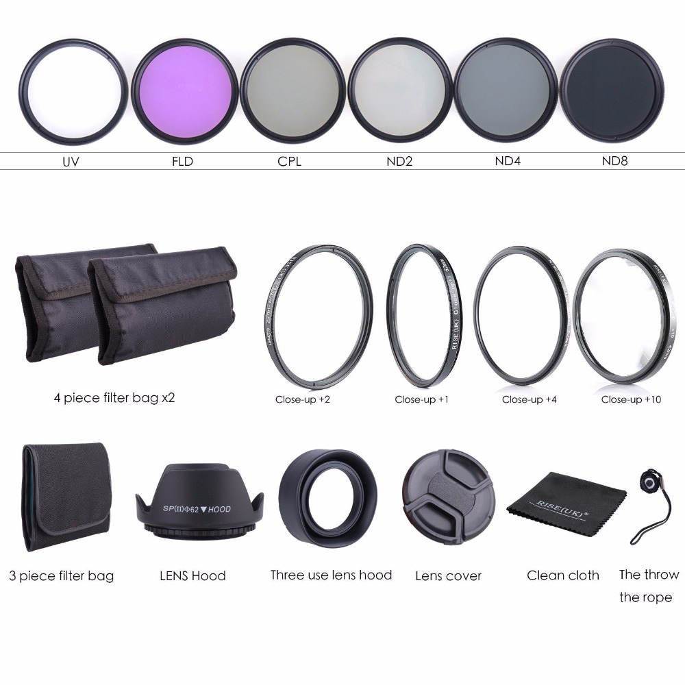 62MM Lens Filter Kit Macro Close Up Set & UV CPL FLD+ND(ND2 ND4 ND8)+bag Lens Cap&Lens Hood&clean cloth for Nikon Canon camera nd2 400 variable nd filter for 62mm lens camera black transparent