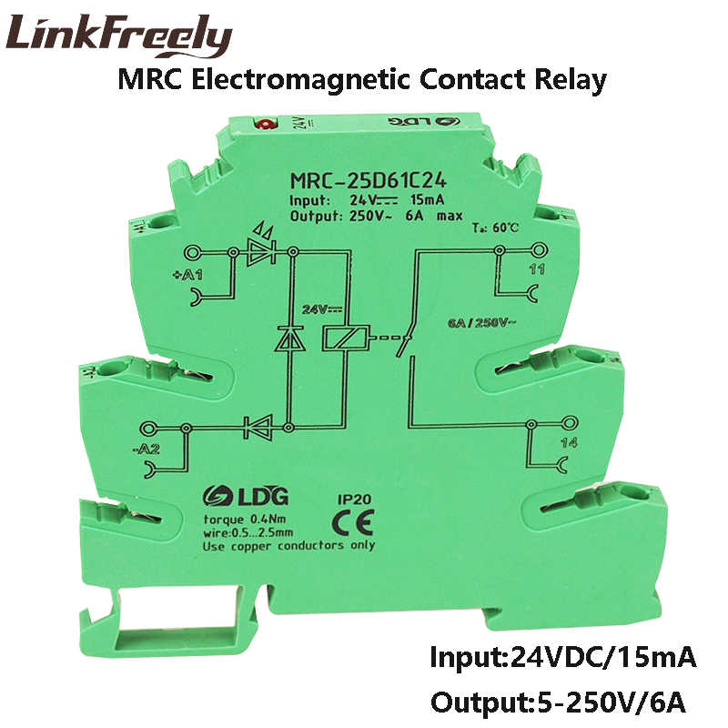 mrc-25d61c24 6a dc 24v plc board voltage relay din rail electromagnetic  contact interface relay