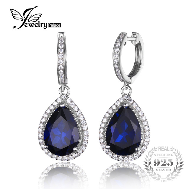 Jewelrypalace Luxury Pear Cut 12.4ct Created Blue Sapphire Dangle Earrings Solid 925 Sterling Silver Women Classic Wedding Gift