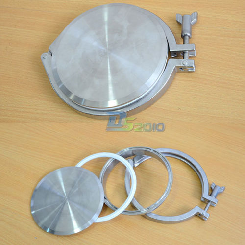 1Set SUS SS316 SS304 304 316 Stainless Steel 5 5 Inch Sanitary End Cap +5Weld on Ferrule +5Tri-clamp +5PTFE Gasket a set 51mm 2 sanitary tri clamp weld ferrule tri clamp silicon gasket end cap 304 stainless steel
