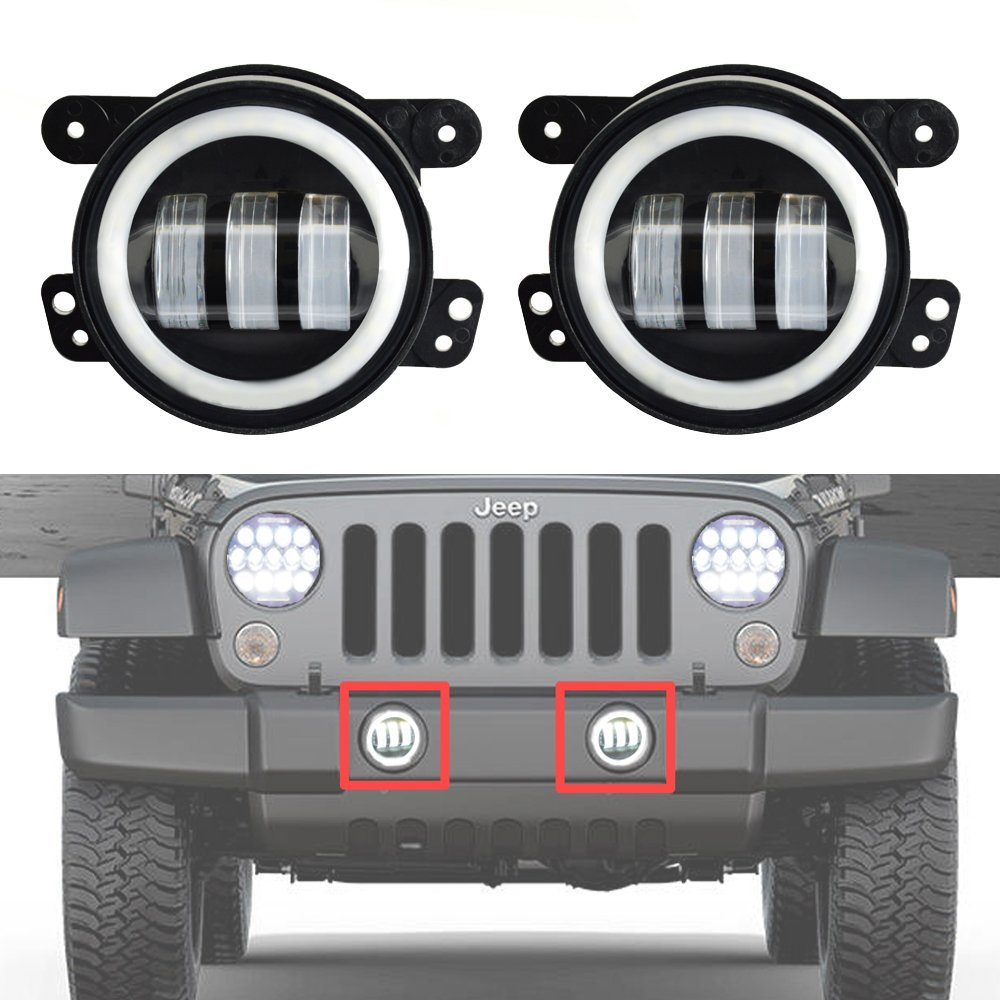 4 Inch Round  Led Fog Light White Halo Ring DRL Angle Eyes For Jeep Wrangler JK LJ TJ Headlight Auto Driving Offroad Lamp 6 inch led headlights eagle light hi lo beam halo ring angel eyes x drl for offroad jeep wrangler front bumper fog light