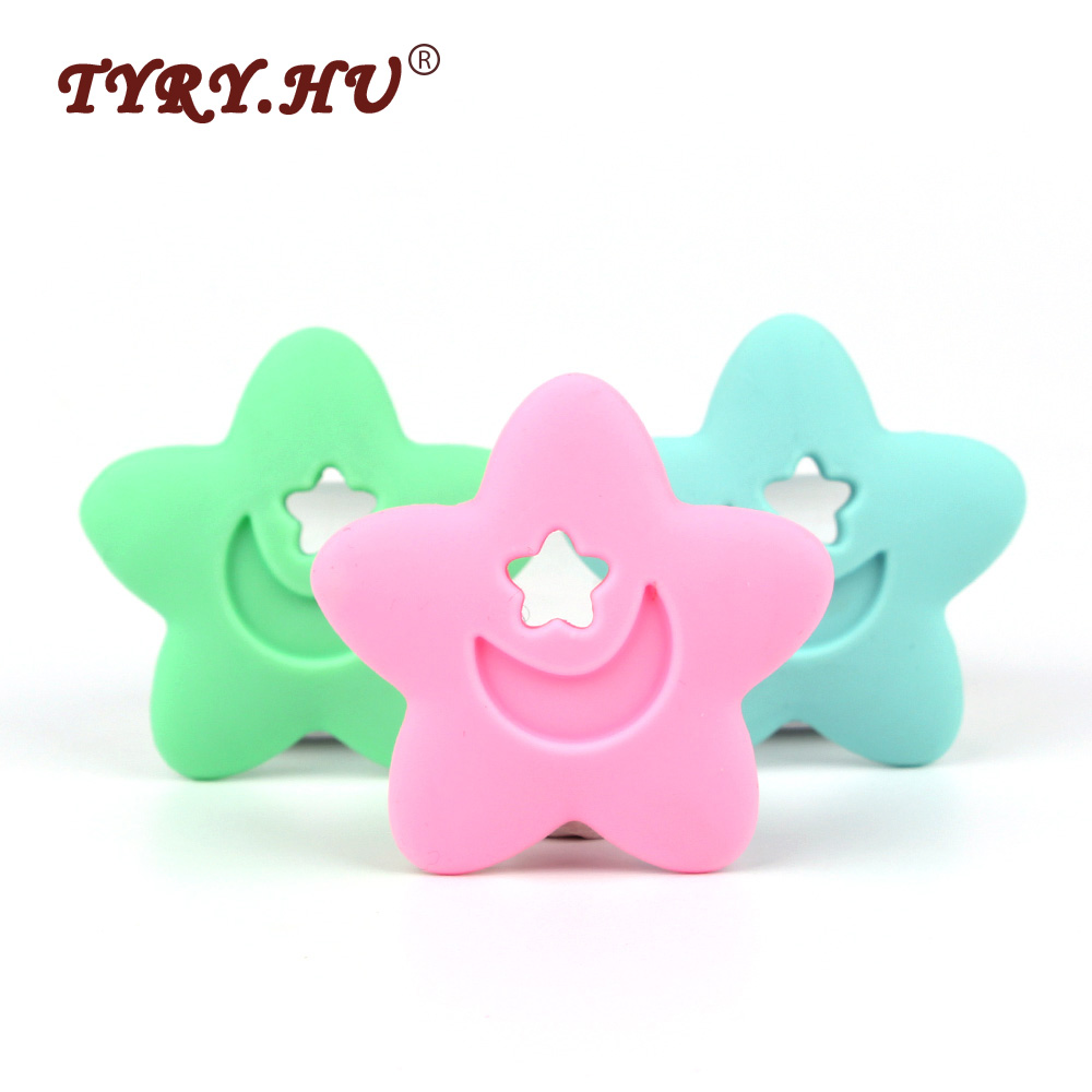 TYRY.HU 1Pcs BPA Free Silicone Star Teether  Food Grade Baby Chewed Silicone Beads Baby Teething Teethers Infants Nursing Toys