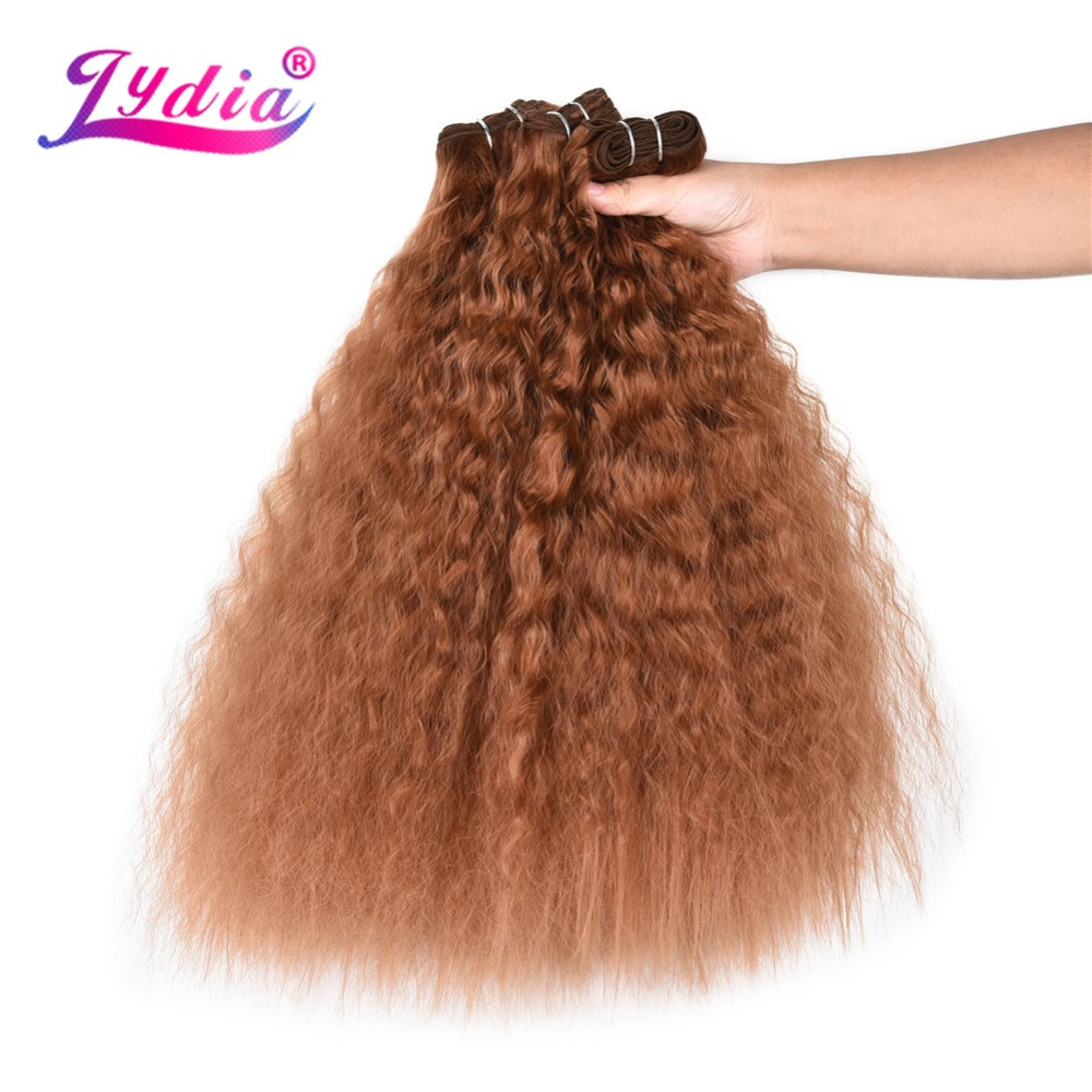 Lydia 3PCS/Pack Kinky Curly Hair Weaving 18-22 Inch Nature Color Wave Synthetic Hair Extension With Double Weft Bundles Brown