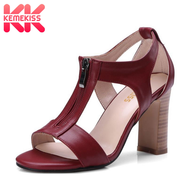 D'été Taille Rétro Kemekiss Partie Club Chaussures Solide Femme Zipper Sangle 34 Dames Talons Couleur Vintage Sandales Haute T 43 kPwlOiuTXZ