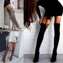 Женские теплые сапоги г. Новые осенне-зимние сапоги выше колена с острым носком, на толстой подошве, с боковой молнией эластичные сапоги женская обувь
