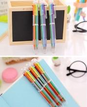 1pcs/lot Six Color Core Press Ballpoint Pen Students DIY Drawing Pens Writing Ball Office School