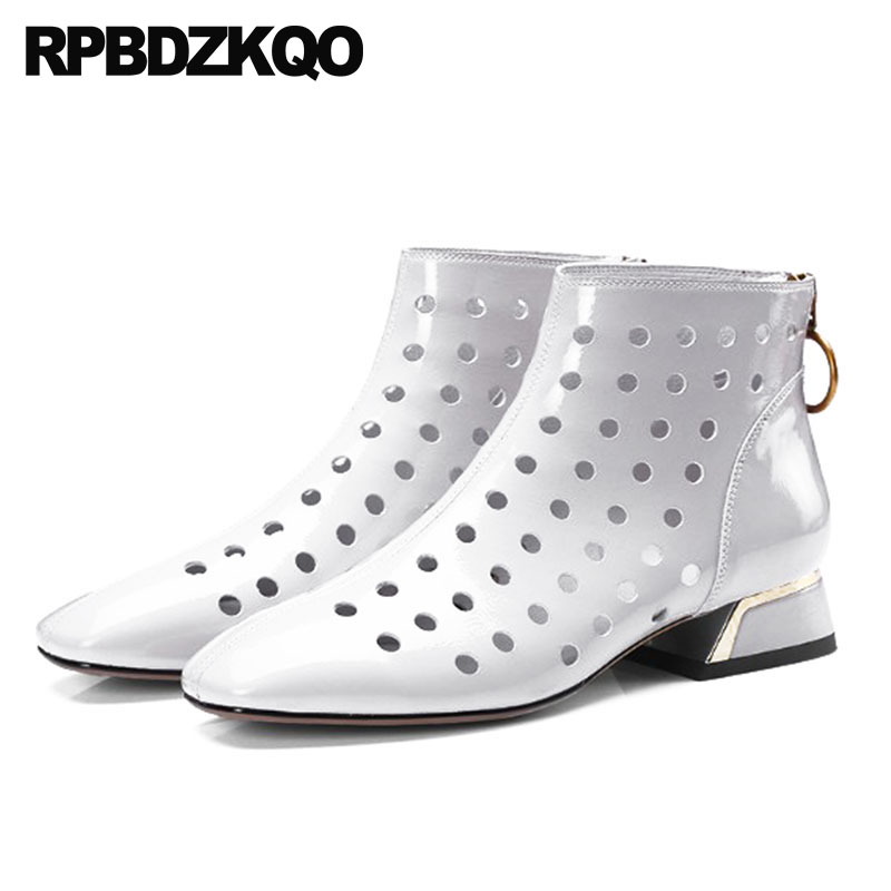 Chunky Sandals Luxury Designer Big Size Cut Out Women Ankle Boots Medium Heel Brand Square Toe Patent Leather Genuine Shoes 2018 chunky heel square toe patent leather sandals