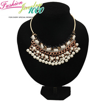 Vintage Pearl Tassel Choker Collar Chunky Statement Pendant Necklace Fashion Jewelry For Women